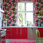 tropical wall decoration for kitchen design with floral pattern wallpaper and pink cabinetry and yellor chair and pink area rug