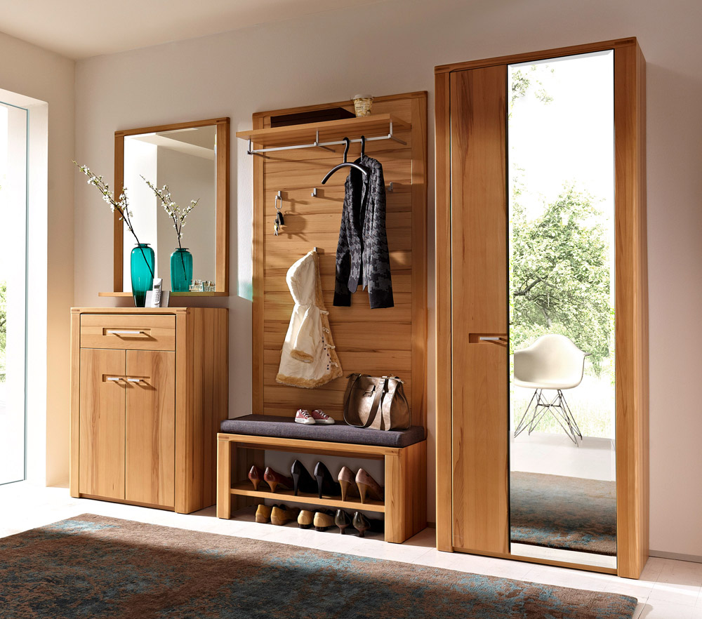 Tropical Wooden Hall Storage With Bench With Shoe Storage And Clothes  Hooksboard And Vanity With Wall