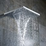 types of shower heads in square shape made of stainless steel installed in modern bathroom