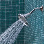 types of shower heads with single water spreay installed in bathroom with blue tiling wall