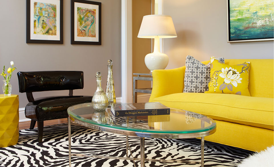 Unique And Colorful Living Room Design With Bright Yellow Sofa Idea And  Colorful Cushion And Zebra
