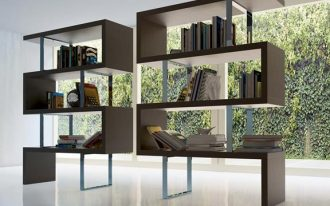 unique bookcase design in the living room wih labirin style made of wood with adorable tone in open plan interior