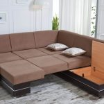 unique brown sectional sofas in big size with storage underneath for comfortable living room ideas plus small end table with spot light plus unique wooden floor