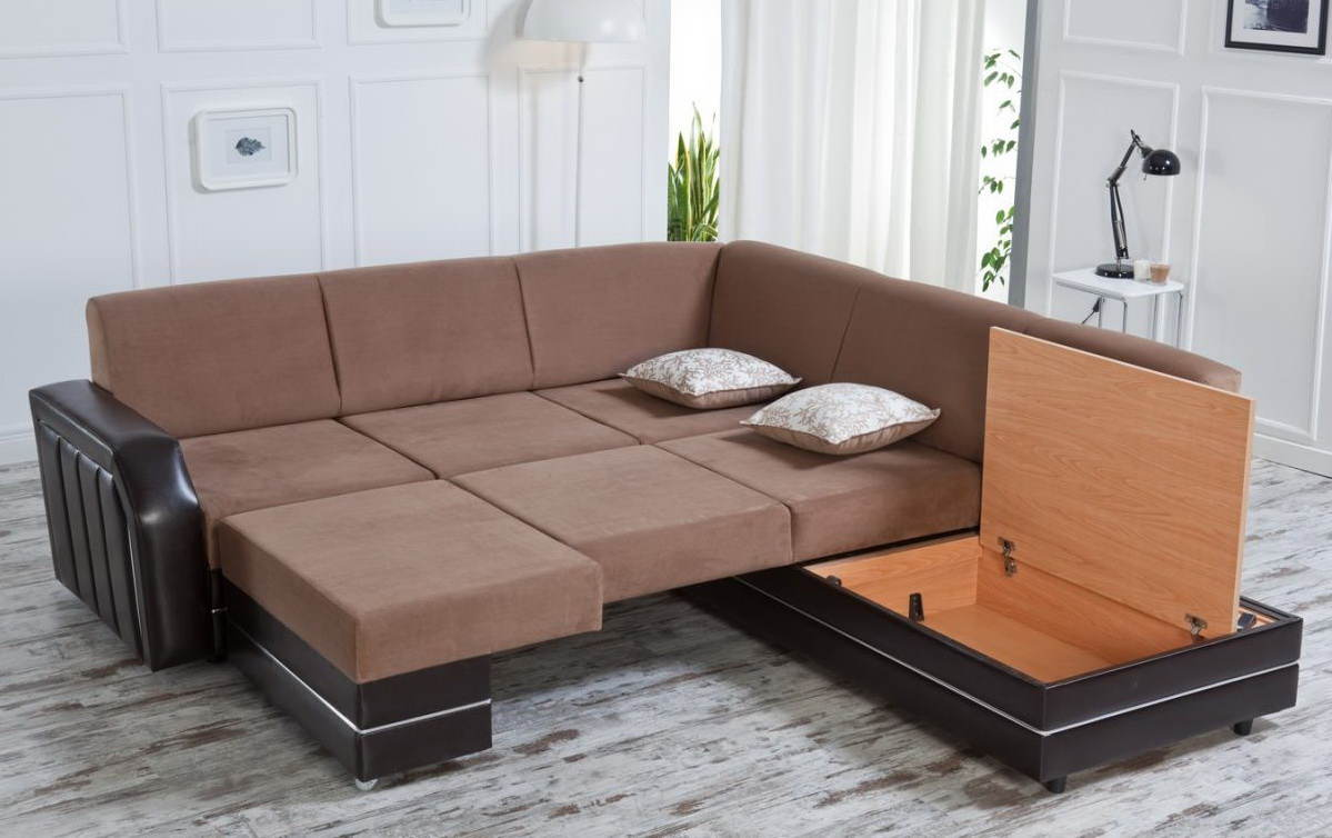 Unique Brown Sectional Sofas In Big Size With Storage Underneath For  Comfortable Living Room Ideas Plus