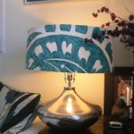 vintage blue custom lamp shade design with bronze stand and adorable pattern on wooden table aside sofa with black white cushion