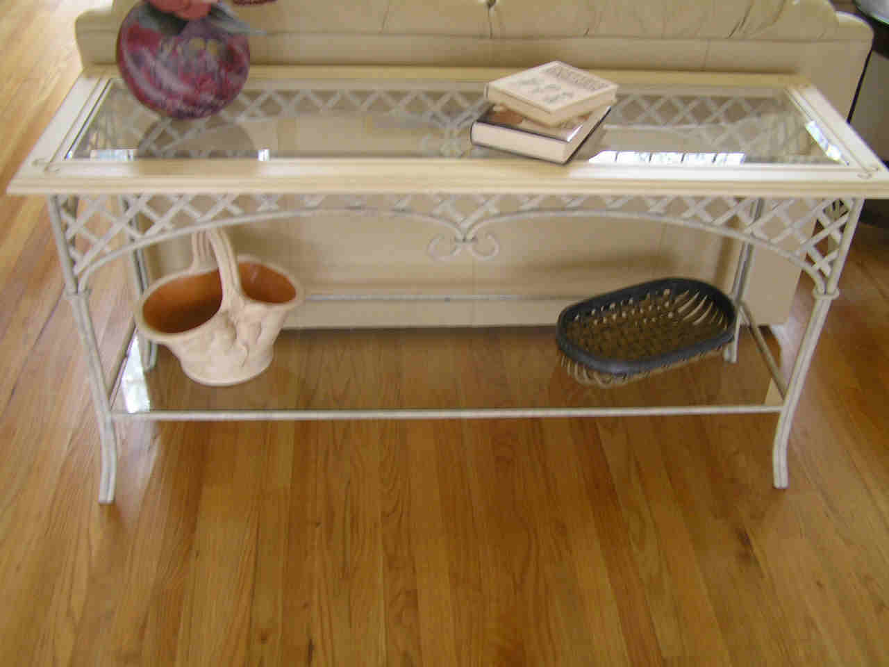 Vintage Wrought Iron Sofa Table With Glass Top Table Plus Shelf Beneath The  Table And Laminate