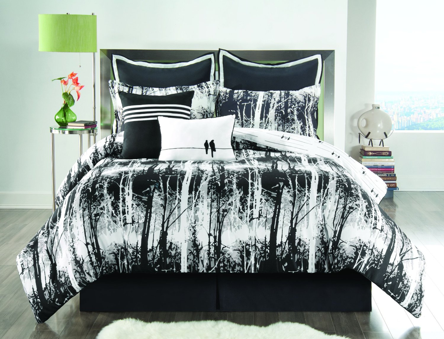 white and black cool comforter sets for modern bedroom ideas for teenage  plus round side table