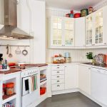 white kitchen ideas with small stove oven plus white kitchen cabinets plus white granite countertop plus grey flooring
