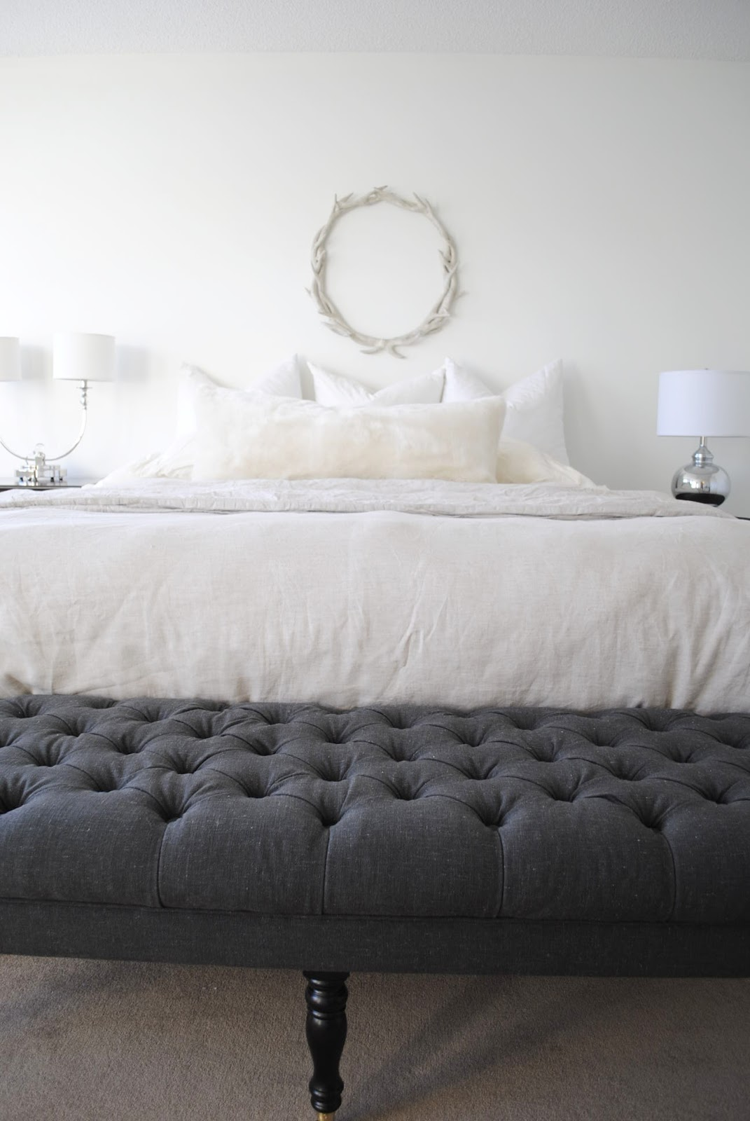 White Restoration Hardware Linen Sheets In Modern Bedroom Ideas Plus Grey  Tufted End Bed Bech Plus