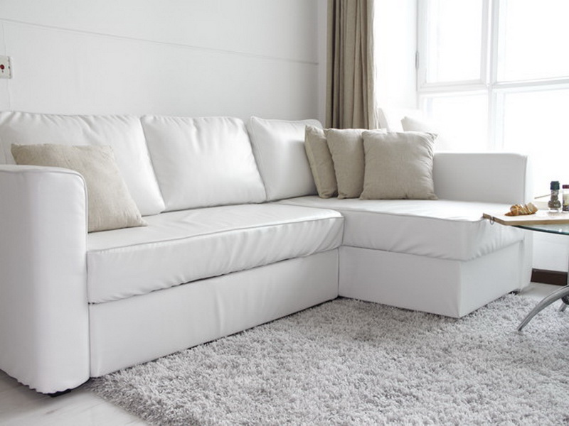 White Sectional Custom Couch Covers Together With Furry Rug Plus Round End Table Gl