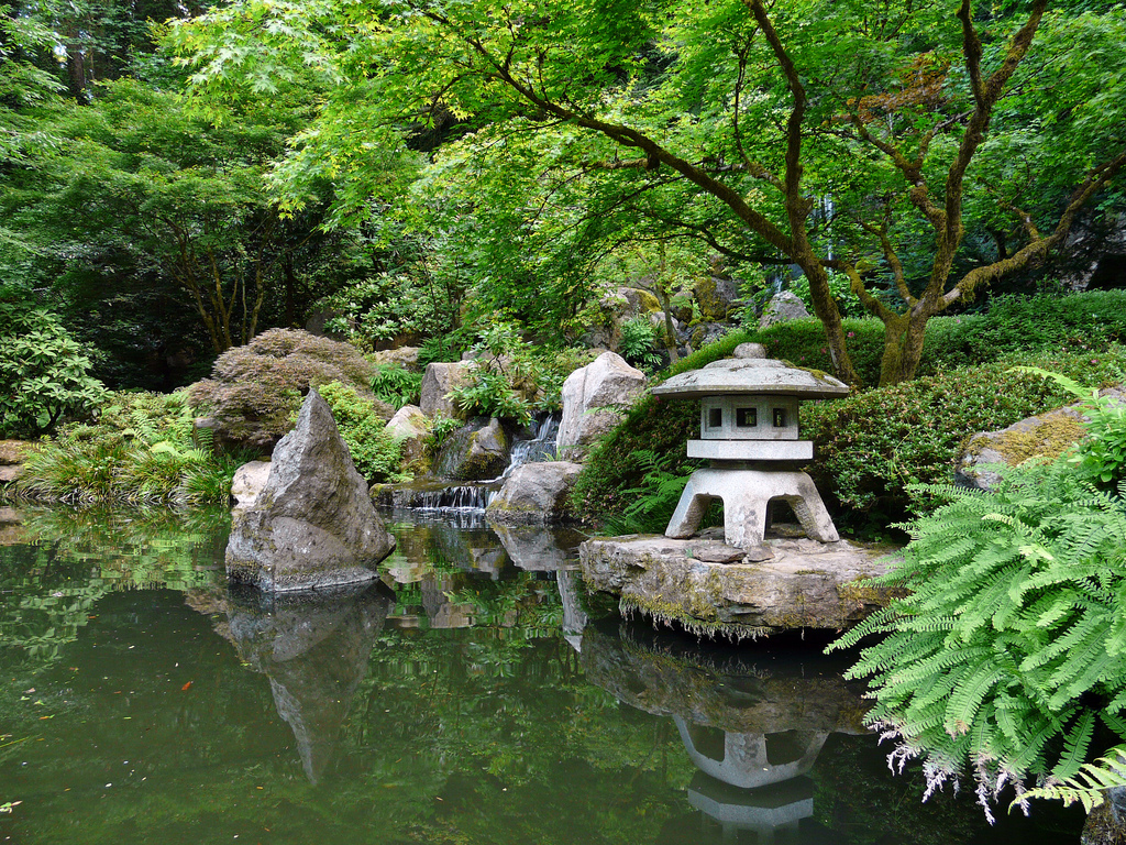 Wonderful Small Japanese Garden Design With Middle Size Pond Idea With Mini  Temple With Light And