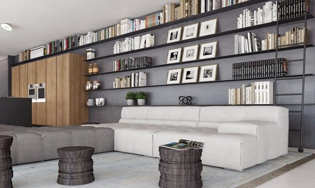 wonderful super large cool bookshleves design idea on gray wall paint with black wooden racks and wooden closet and white sofa and gray pouff and ottoman