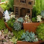 Wondrous And Unique Succulent Planter Design Idea With Peach Pot With Landscape And Tiny House And Shrub