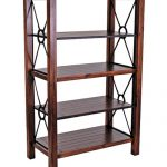 wood and metal book rack in darker brown finishing