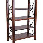 wood and metal book rack in darker brown finishing