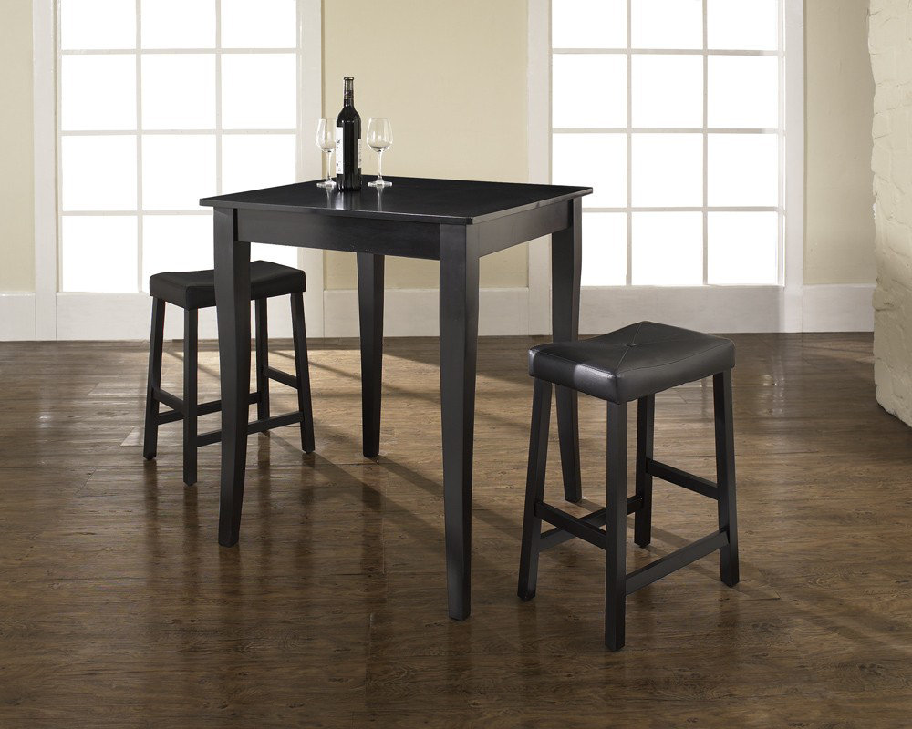 3 Pieces Pub Tables And Stools With Dark Wooden Color