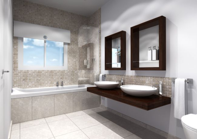 3D Bathroom Sketch With Built In Bathtub Modern Floating Sinks And Faucets Wall Shelving Unit