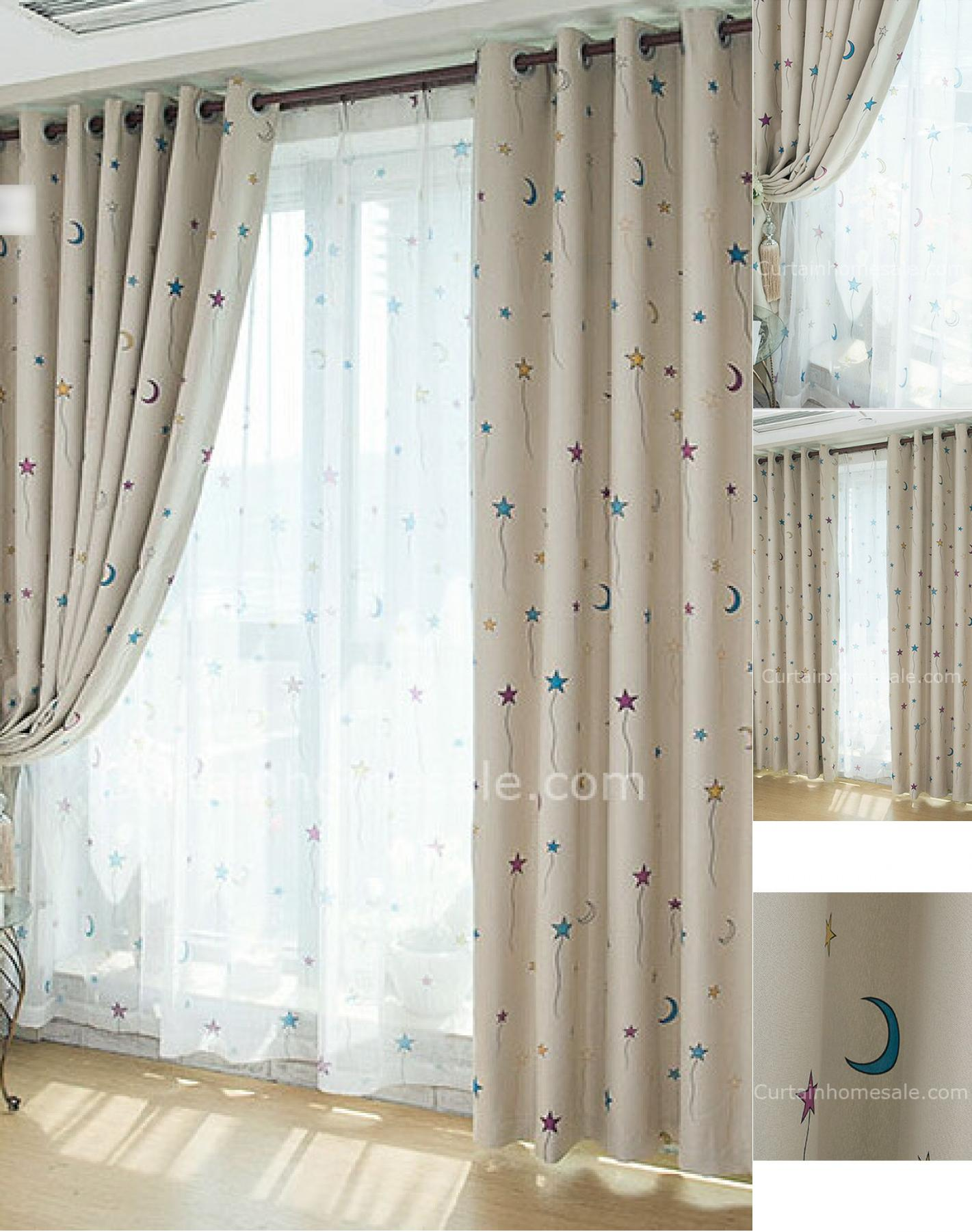 Adorable Star Month Theme Of Blackout Curtains Nursery