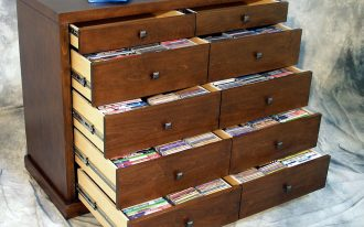 All Open Wooden CD Storage Drawers