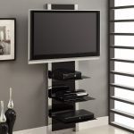 AltraMount-Black-and-Chrome-Wall-Mount-TV-Stand-made-of-glass-and-sturdy-metal-frame-with-three-shelves-for-wire-management-solution