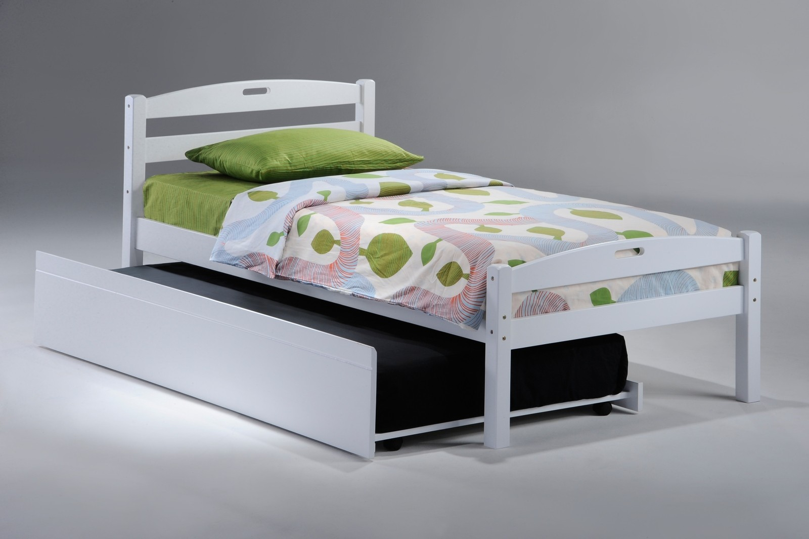 Amazing Trundle Beds For Children With Nature Theme And Green Pillow