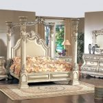 An idea of fancy bed set with big four pillars and higher classic look headboard a classic themed bedside table with table lamp a classic bedroom vanity with framed mirror