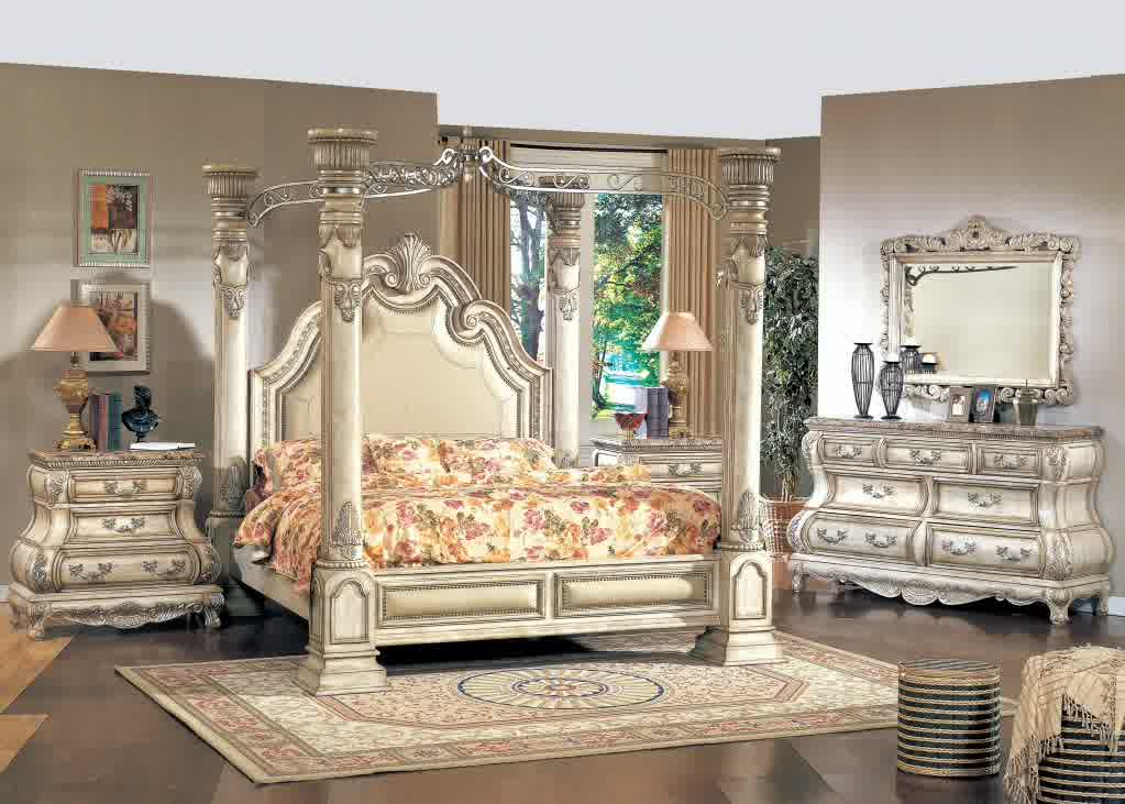 An Idea Of Fancy Bed Set With Four Pillars And Higher Clic Look Headboard A