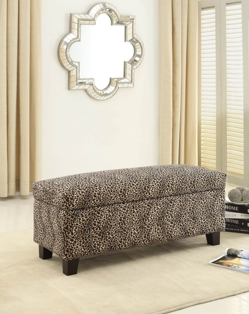 complete your safari themed home decor with animal print bench