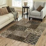 Awesome Cheetah Print Rugs In Living Room With White Sectional Sofa And Chair