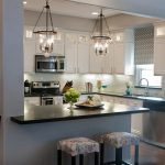 Awesome Kitchen Pendant Light Fixture With White Cabinet And Double Decorative Stools