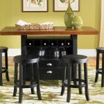 Awesome Pub Tables And Stools With Solid Wooden Top Wine Storage Drawers And White Green Rugs