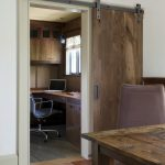 Awesome Room Of Home Office With Rustic Office Desk And Wooden Slide Door