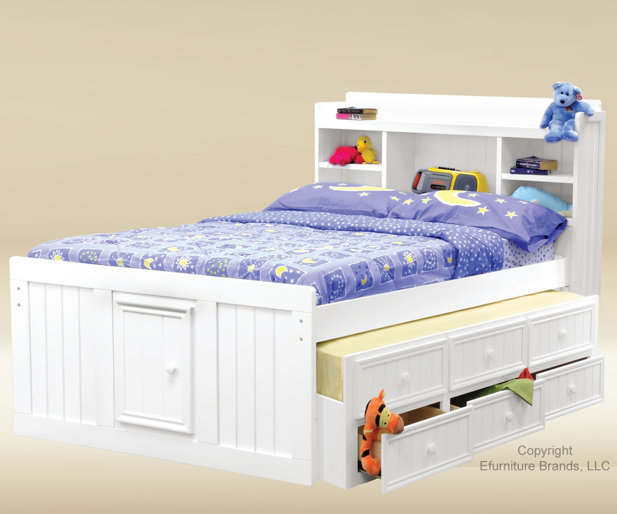 Awesome Star And Moon Theme Of Trundle Beds For Children With White Bed Frame Storage