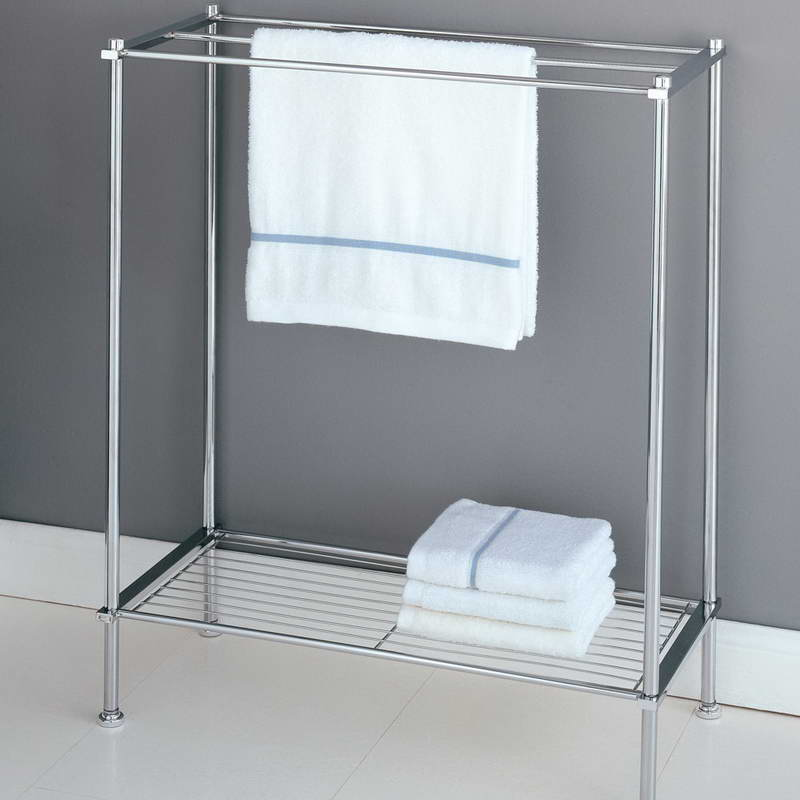 Beautiful Bathroom Free Standing Towel Racks With Grey Iron