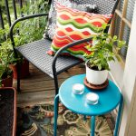 Beautiful Apartment Balcony Furniture With Steel Chair And Blue