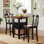 Beautiful Round High Top Table Sets With Storage And Chairs