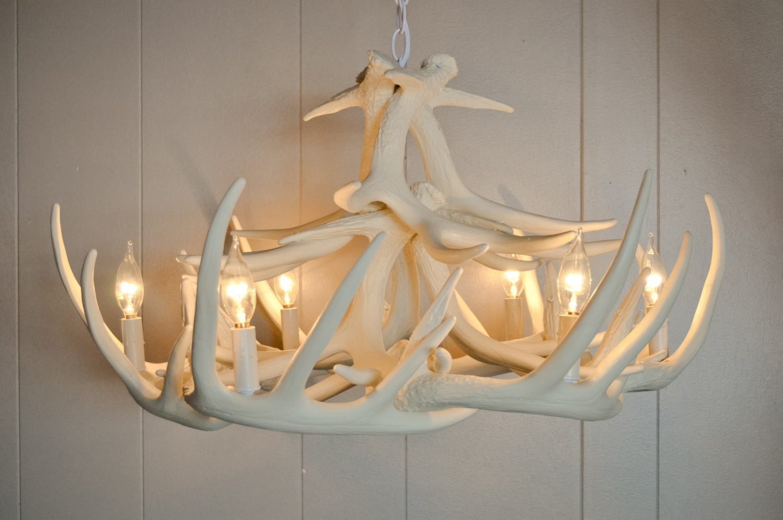 White antler chandelier homesfeed beautiful white antler chandelier aloadofball Choice Image