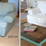 Before And After Custom Couch Covers With White Cover And Small Rectangular Wooden Table