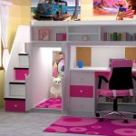 Berg loft bed design in white and pink with desk bookshelves storage system and stairs complements medium sized pink bedroom rug with modern pattern