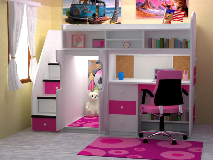 pink white loft beds for stairs | Berg Loft Bed Selections with Optional Features | HomesFeed