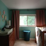 Best Blackout Curtains Nursery With Stripped Design And Wooden Furniture With Green Wall