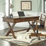 Best Rustic Office Desk With Three Drawers Chair Table Lamp And Cool Rug