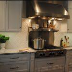 Beveled Arabesque Tile On Kitchen Wall With Kitchen White Cabinet Set