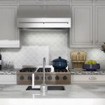 Beveled Arabesque Tile With Ceramic Design And White Kitchen Cabinet Set