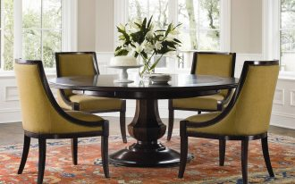 Big Dark Wooden Round Dining Table Set With Leaf And Cool Chairs Plus Luxury Rug