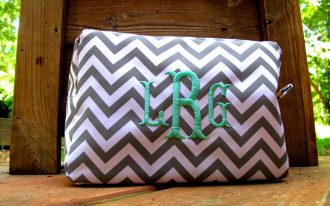 Big Monogrammed Cosmetic Bags With Turquoise Letter Border