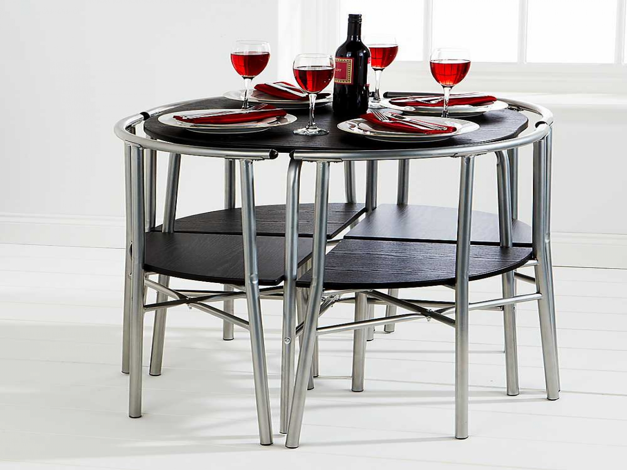 black and metal grey of space saver dining set