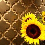 Black Beveled Arabesque Tile With Yellow Flowers
