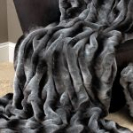 Black Grey Color Of Faux Fur Blanket Queen