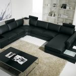 Black Sectional Sofa Designs For Living Room With Furt Rug And Small Table